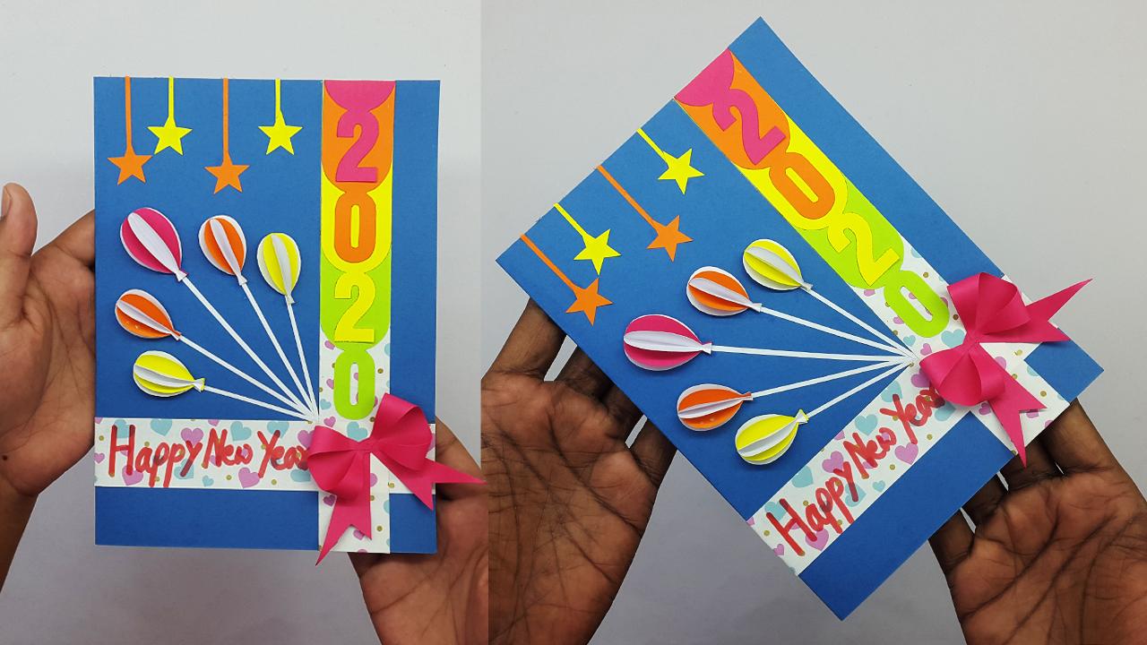colors paper handmade happy new year 2020 card idea  diy