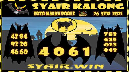 Syair Kalong Toto Macau Minggu 26 September 2021