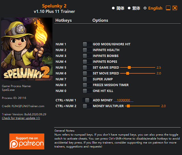 Tampilan Trainer Spelunky 2 PC