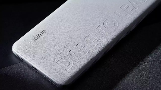 Realme Q Series smartphones teased leaked, with a leather back panel.