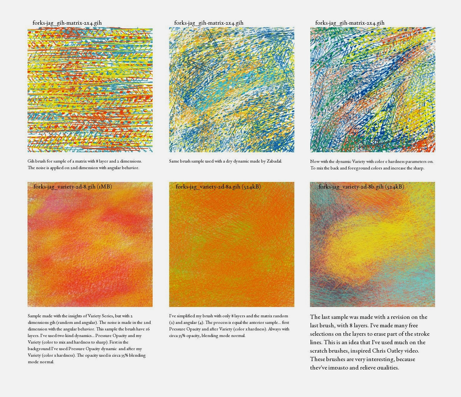 Samples of my gih sample matrix with 2 dimensions and the first brush series based in this tutorial. Made with Gimp.