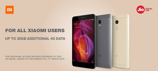 Jio Xiaomi 4G Data Offer: Get 30GB FREE Internet For Redmi Users March 2018