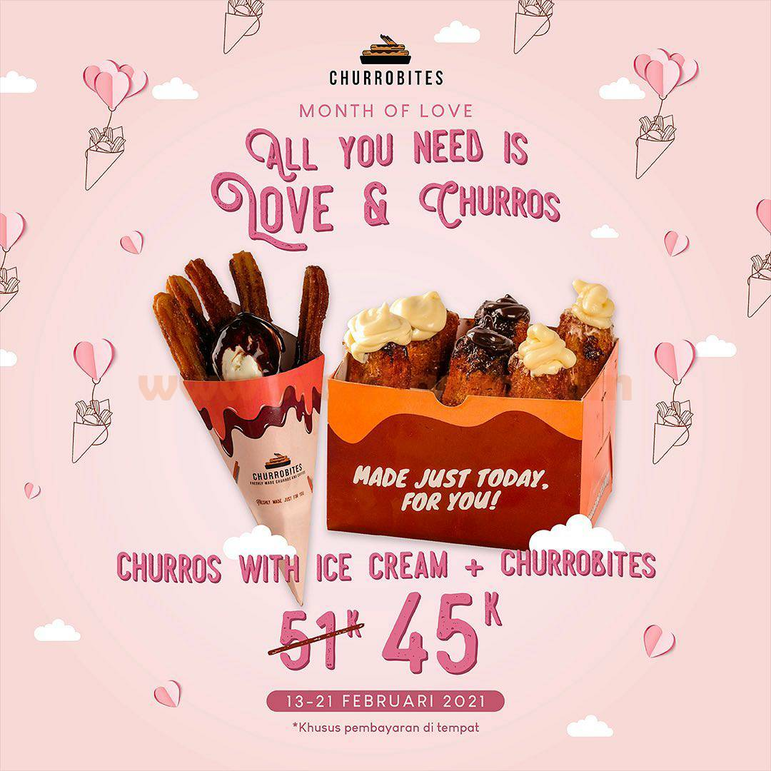 Promo Churrobites Special Valentine! Beli Churros with Ice Cream only Rp 45K