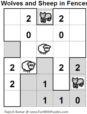 Wolves and Sheep in Fences (Mini Puzzles Series #16) Solution