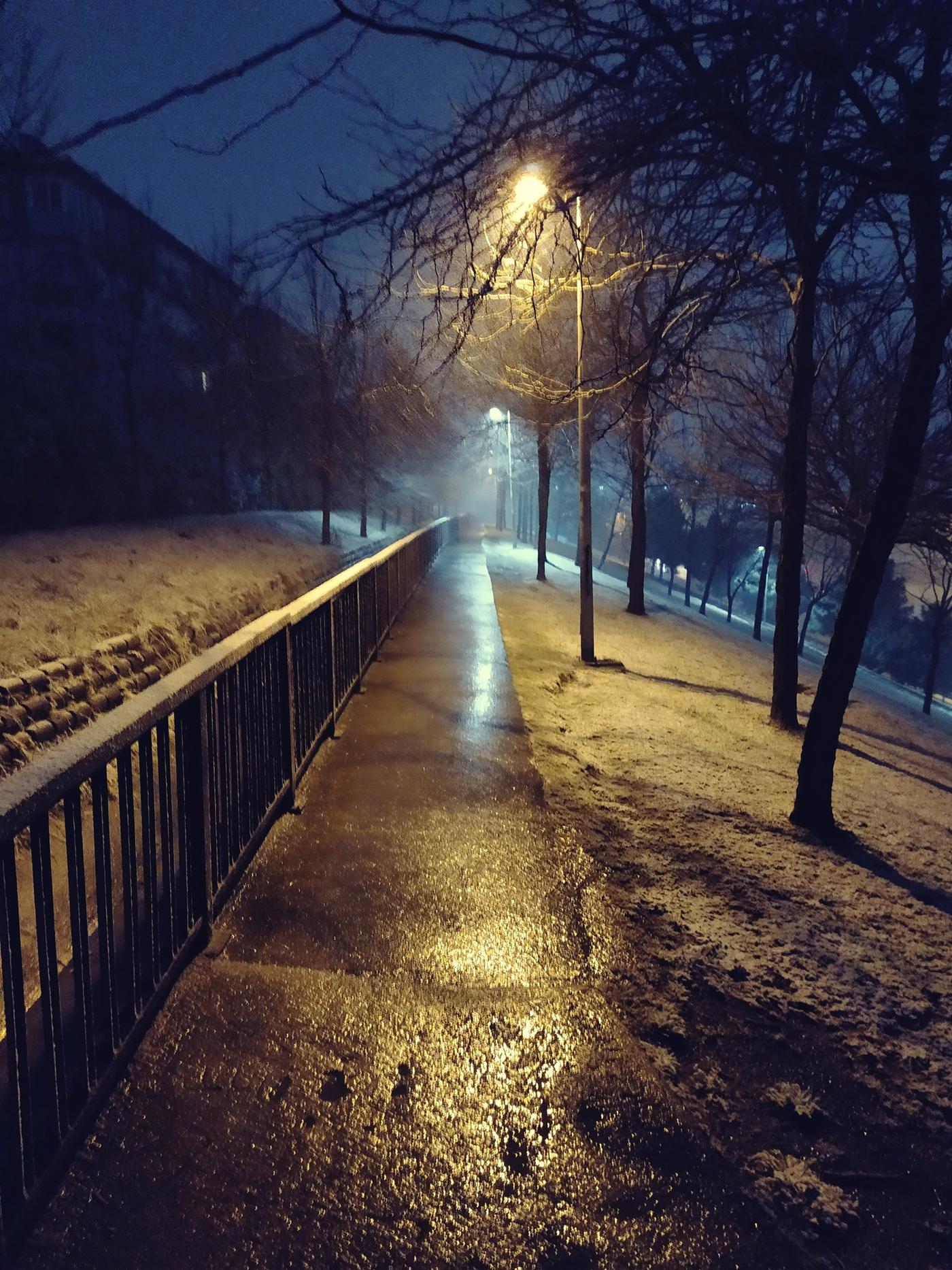 Walkway, Parkway, Night, Rain, Street Lights