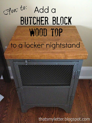 butcher block wood top on metal nightstand
