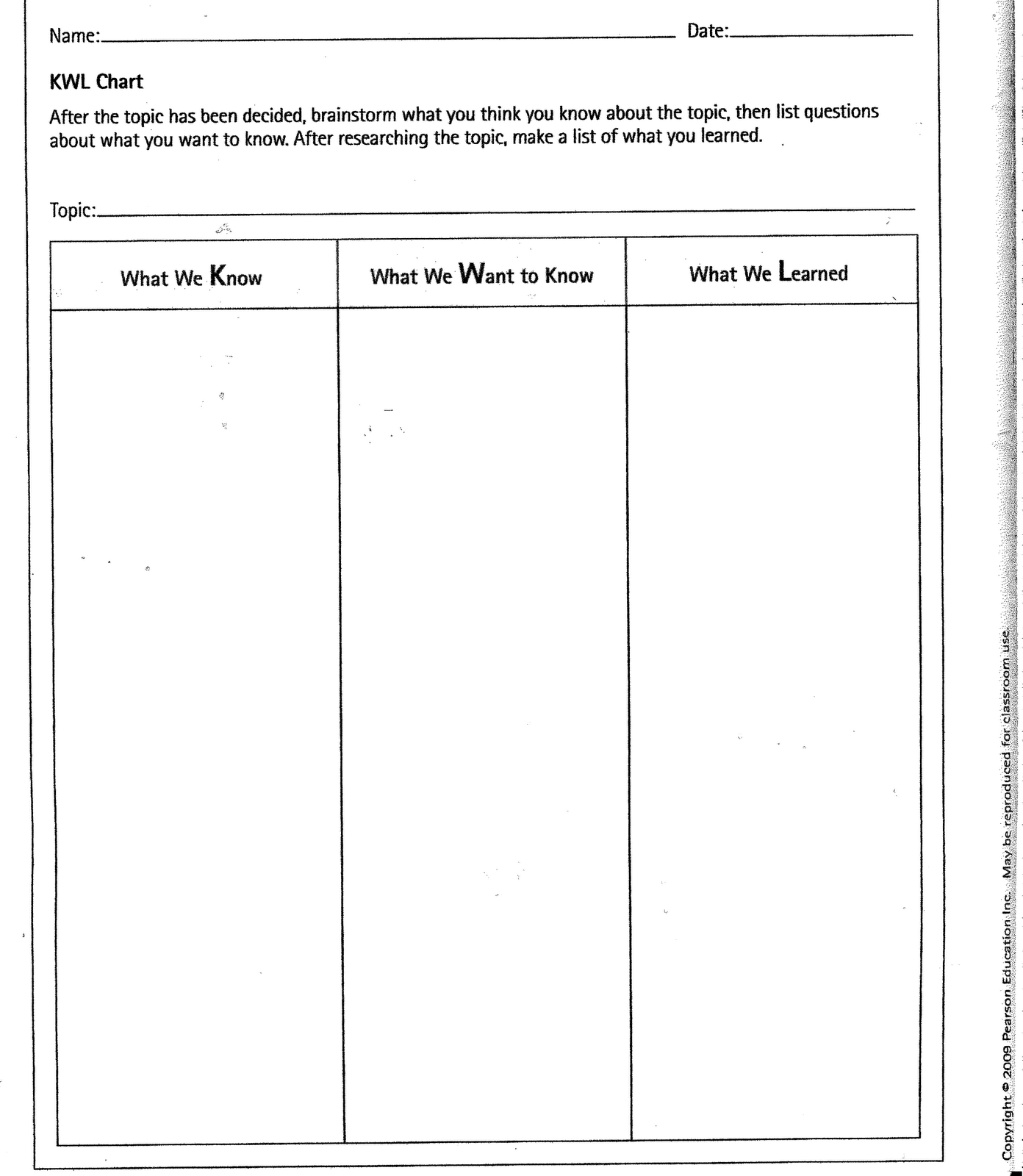 Kwl Chart Template Teacher – Kwl Worksheet