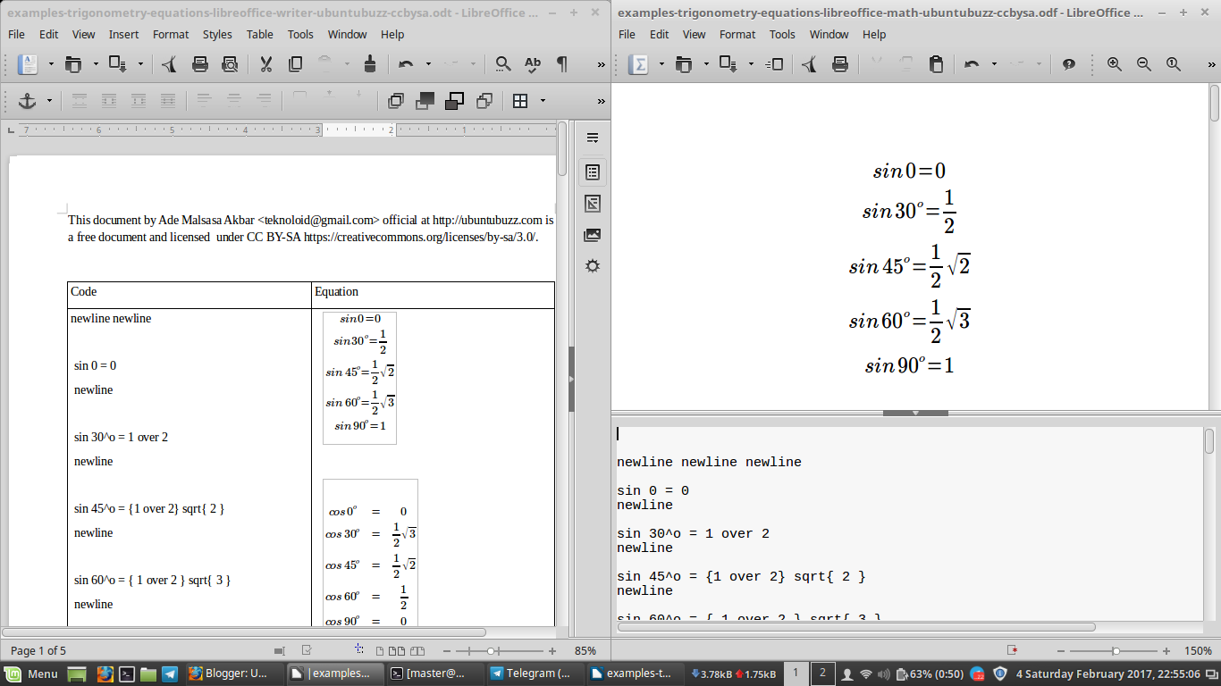 LibreOffice Math: Trigonometry Equation Examples