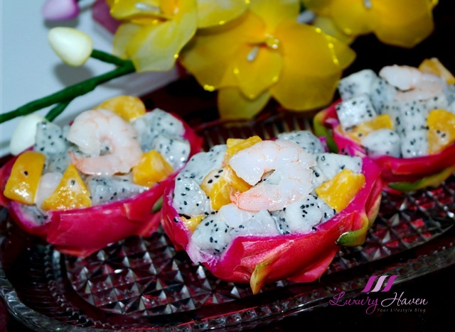 healthy dragon fruit mango prawn salad party recipe