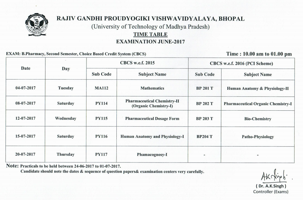 Rgpv examination time table for Rtu 4th sem time table