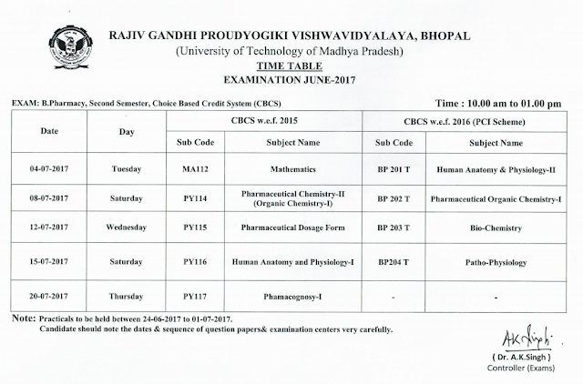 RGPV B.Pharmacy 2nd Semester Choice Based Credit System Exam Time Table