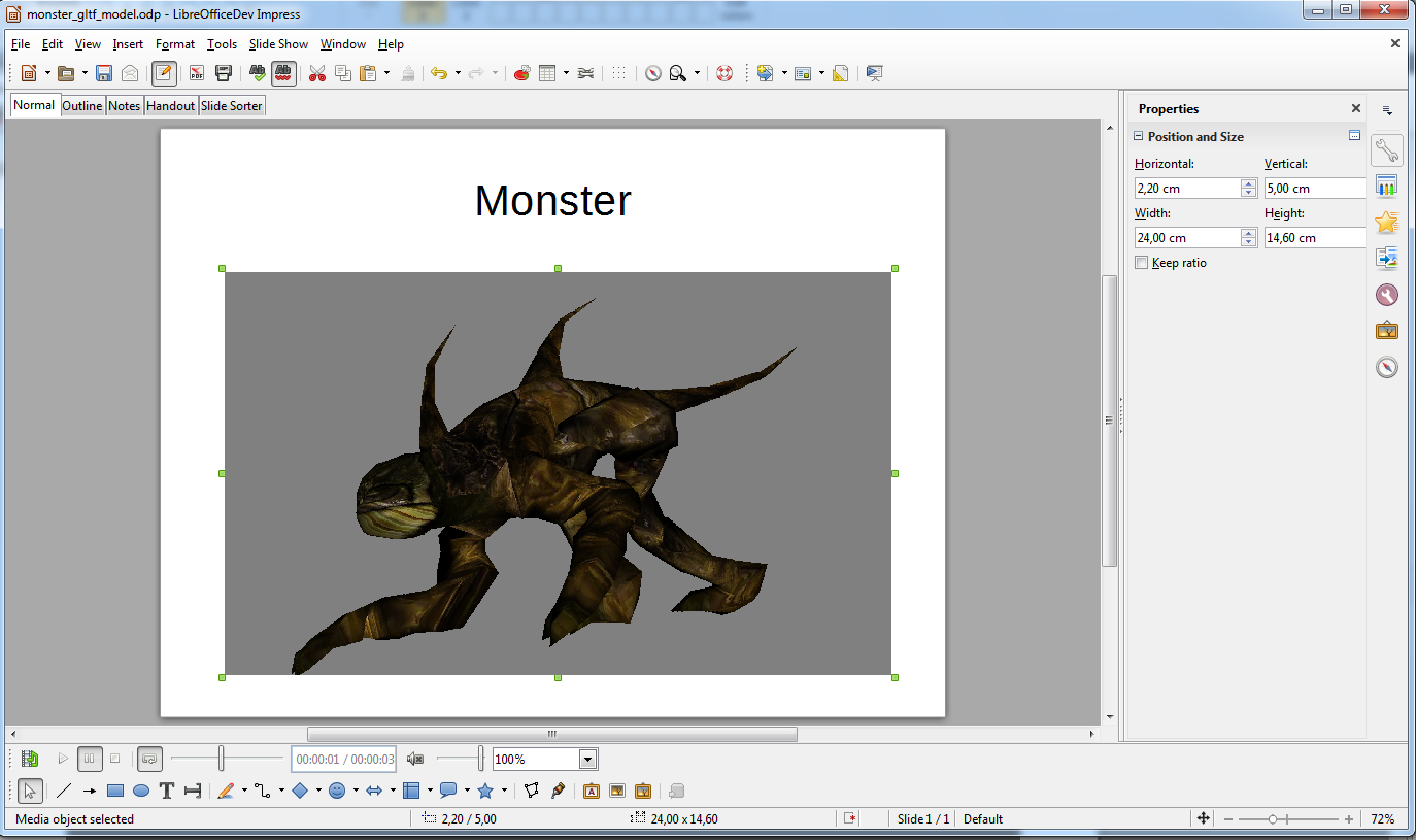 Side for informatics: 3D models in Impress (LibreOffice 4 3)