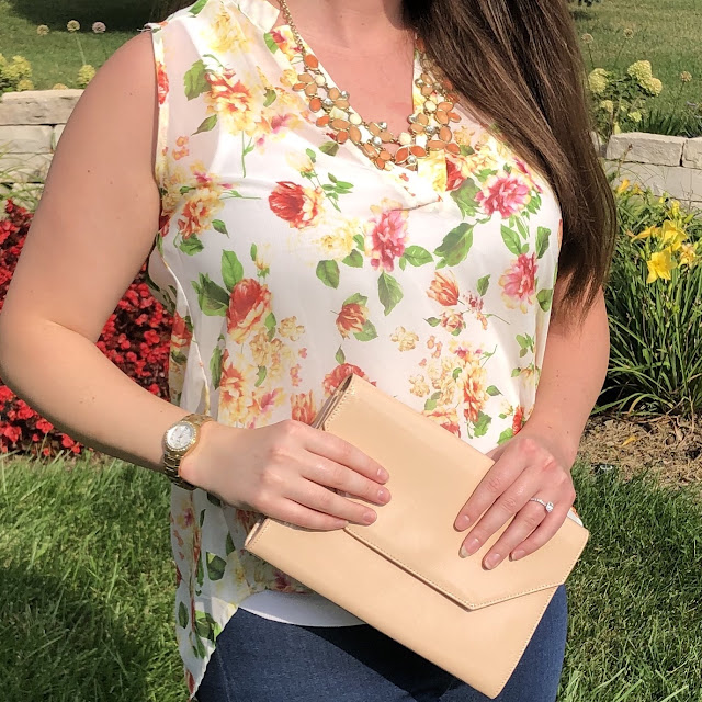Model is wearing a summer blouse by Forever 21 along with other pieces by Lucky Brand, Nordstrom's Halogen, and Fossil.