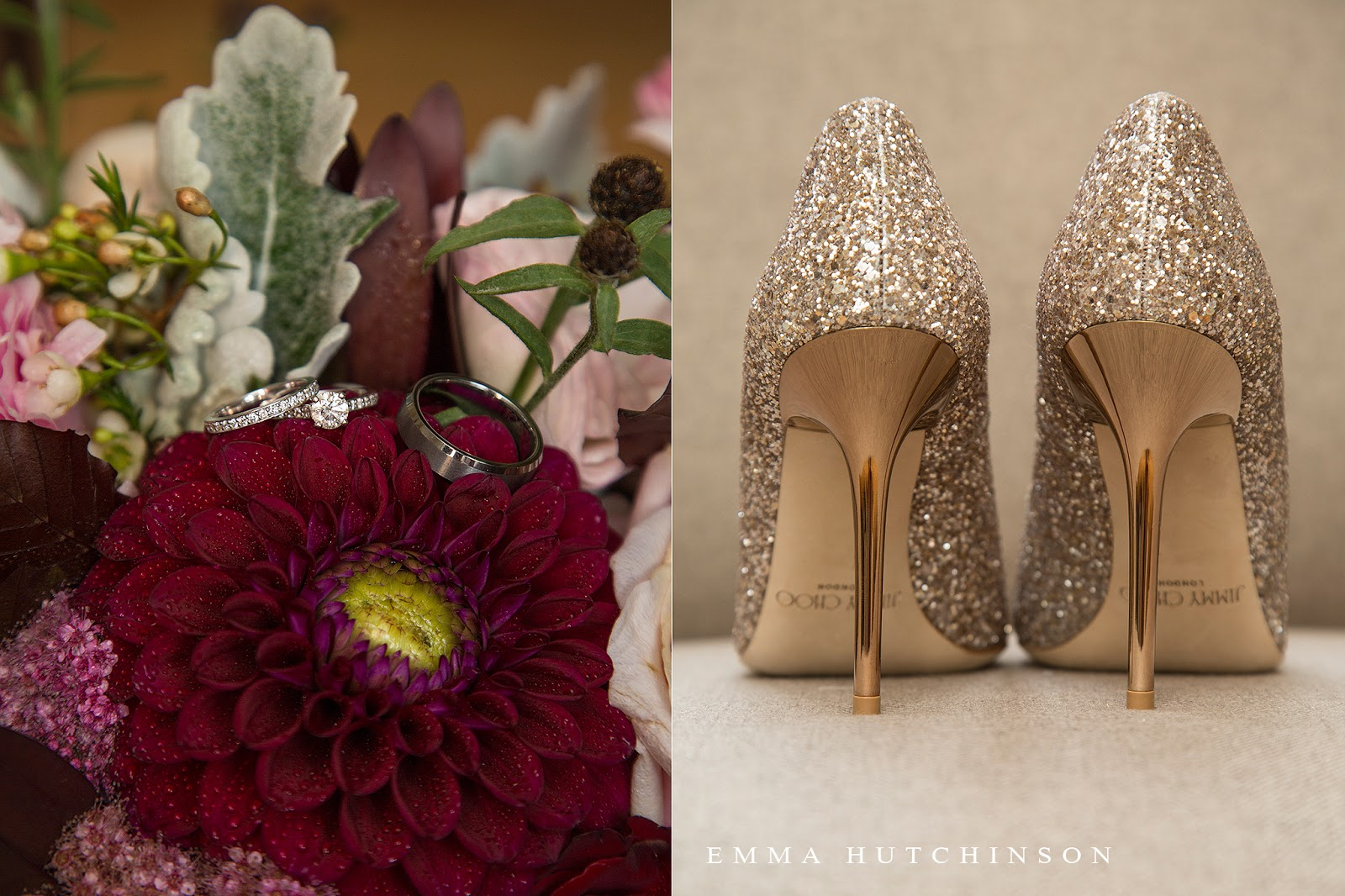 Weddings at the Grand Falls Golf Club - photograph of Bride's gold glitter stiletto Jimmy Choo shoes