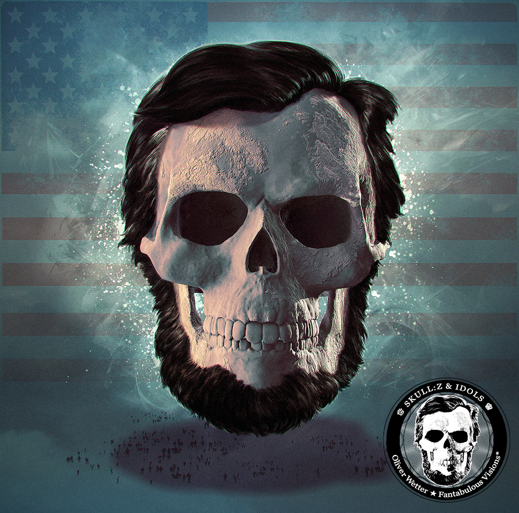 Skull portrait of Abe Lincoln