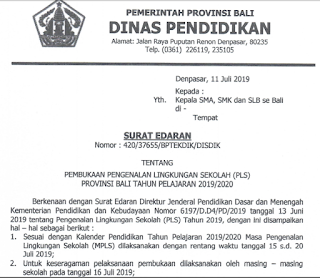 surat edaran dinas pendidikan provinsi bali tentang PLS 2019