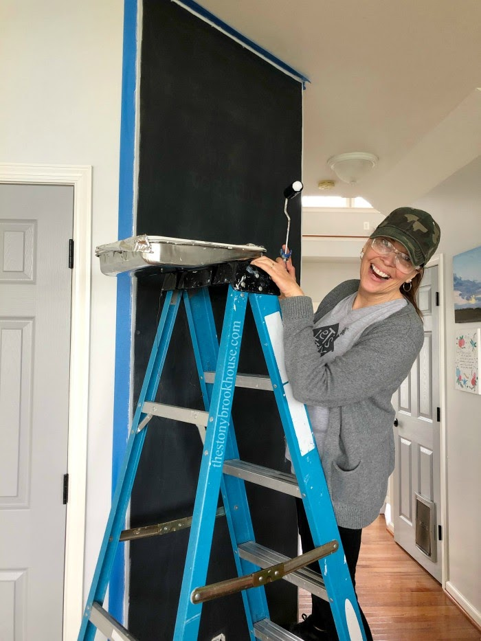 Painting the chalkboard accent wall