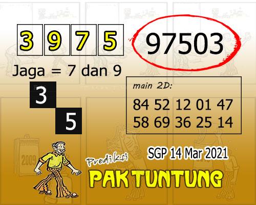 Syair SGP Minggu 14 Maret 2021 -