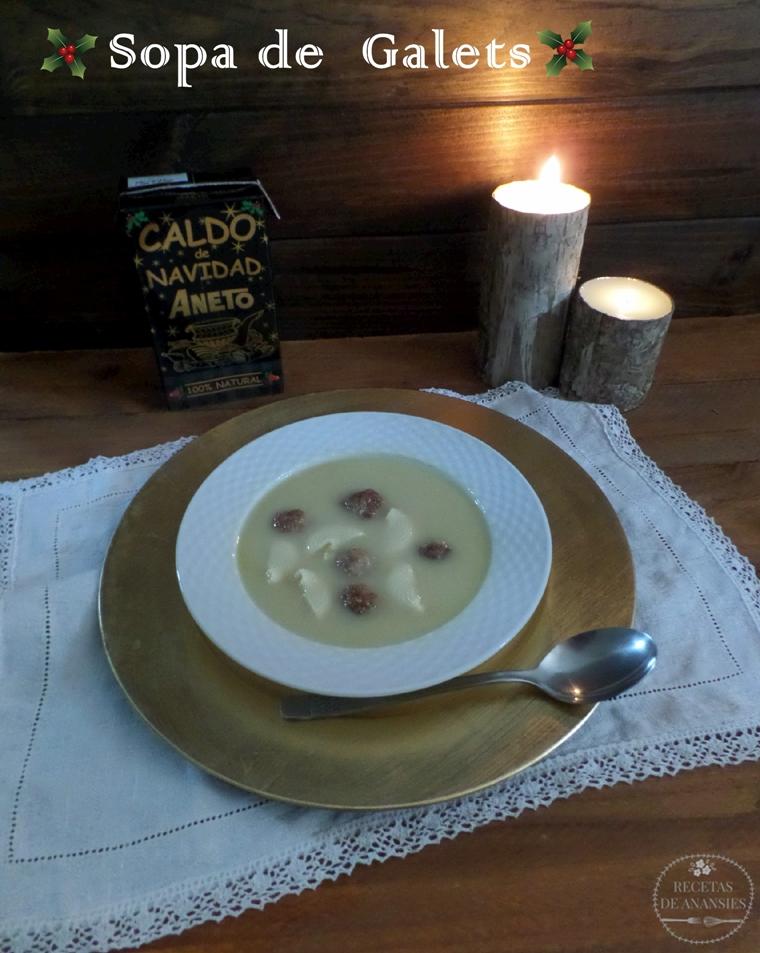 Sopa de Galets con caldo de Navidad Aneto