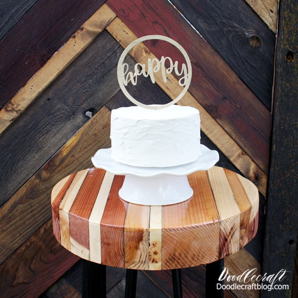 """This cake topper is a cinch to make using the Cricut Maker too! Just create a 1/4"""" circle and place a word image in the center, then weld the shapes and cut out of posterboard. Then hot glue to a toothpick! Easy and cute!"""