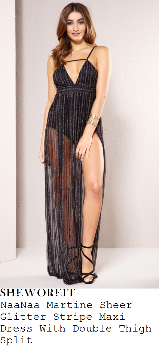 ferne-mccann-naanaa-martine-black-and-gunmetal-silver-glitter-stripe-detail-sleeveless-cami-strap-cut-out-plunge-front-sheer-chiffon-maxi-dress