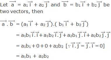 "Let ("" a "" ) ⃗ = a1("" i "" ) ⃗ + a2("" j "" ) ⃗ and ("" b "" ) ⃗ = b1("" i "" ) ⃗ + b2("" j "" ) ⃗ be two vectors, then ("" a "" ) ⃗.("" b "" ) ⃗ = (a1("" i "" ) ⃗ + a2("" j "" ) ⃗).( b1("" i "" ) ⃗ + b2("" j "" ) ⃗)          = a1b1 ("" i "" ) ⃗.("" i "" ) ⃗ + a1b2 ("" i "" ) ⃗.("" j "" ) ⃗ + a2b1 ("" j "" ) ⃗.("" i "" ) ⃗ + a2b2 ("" j "" ) ⃗.("" j "" ) ⃗          = a1b1 + 0 + 0 + a2b2 [∵("" i "" ) ⃗.("" j "" ) ⃗ = ("" j "" ) ⃗.("" i "" ) ⃗ = 0]           = a1b1 + a2b2"