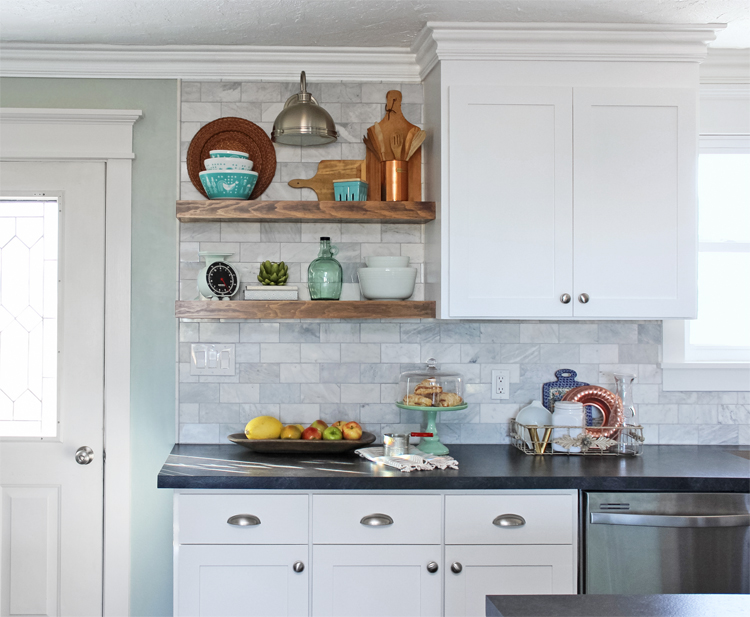 How to install floating shelves over a tile backsplash