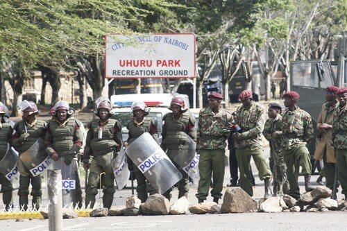 Police block Uhuru Park where Raila Odinga was expected to hold a rally. PHOTO | Courtesy