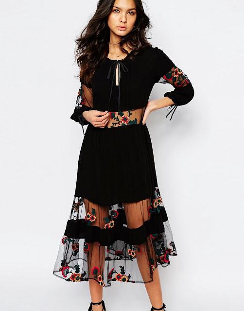 for love and lemons eva dress, love and lemons black floral embroidered dress, love and lemons black midi dress,