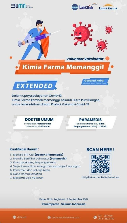 Loker Dokter dan Paramedis (Nurse & Bidan): Volunteer Vaksinator Kimia Farma