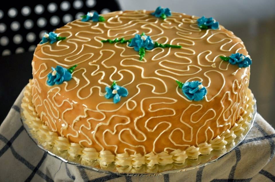 salted caramel glaze vanilla chiffon cake -belle christine
