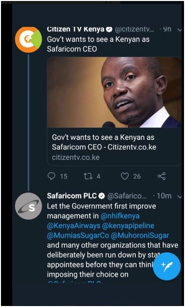 2 - Did someone hack Safaricom's official twitter account or the admin was high on weed, Last night's tweets shock Kenyans