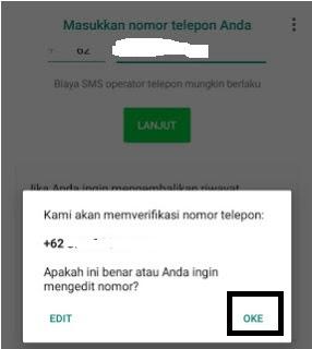 Verifikasi nomor perbarui yowhatsapp