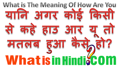 What is the meaning of How Are You in Hindi