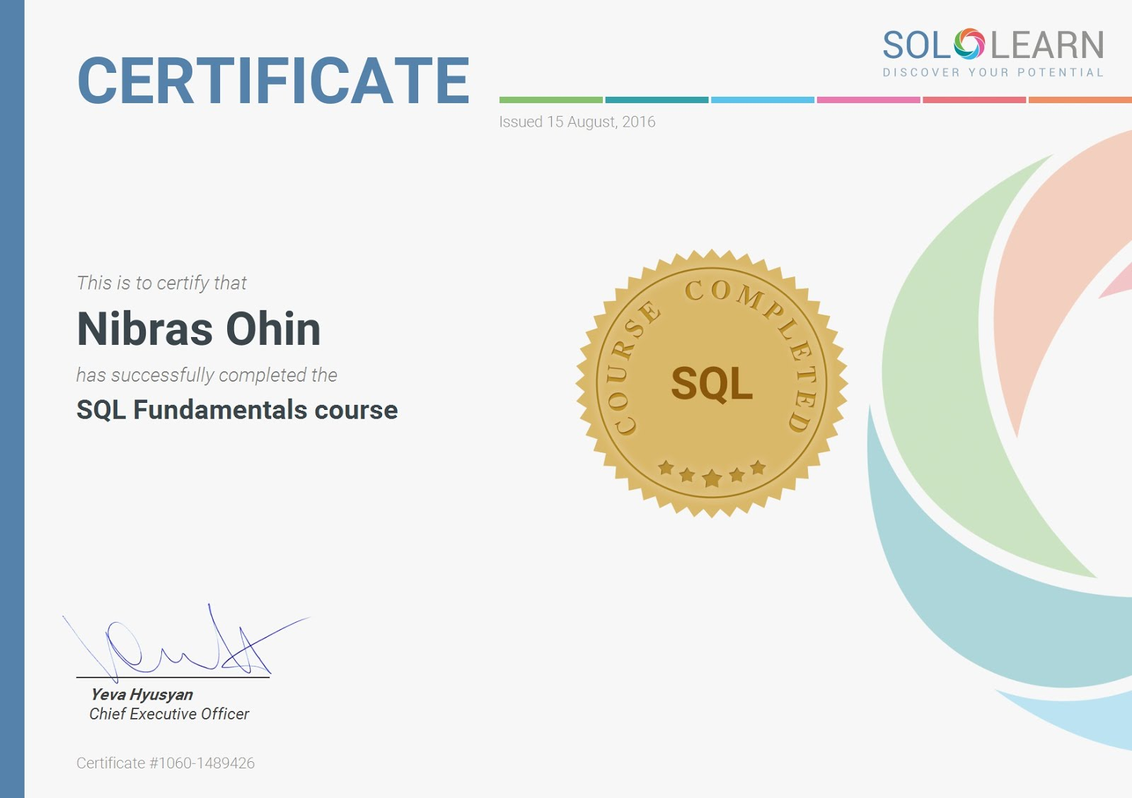 sql sololearn certificate certification programming closest magic learned concepts