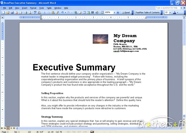 executive summary for business plan example creative english