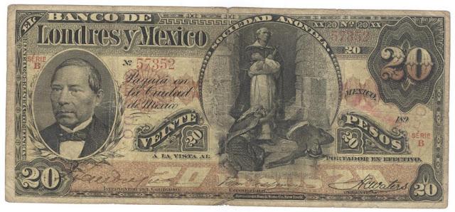 Mexican paper money 20 Pesos banknote bill, Banco de Londres y Mexico