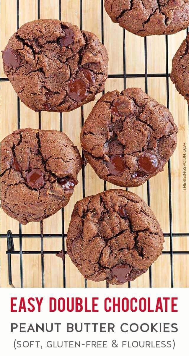 Need a quick & easy cookie recipe? Fix these Homemade Double Chocolate Peanut Butter Cookies in only 20 minutes with simple ingredients from your kitchen (they're flourless, too). If you love soft & cakey cookies - and especially cocoa powder or chocolate chips - this recipe is for you! Make these anytime you're craving a fast dessert or bake a batch to celebrate holidays like Christmas, Valentine's Day & Easter!