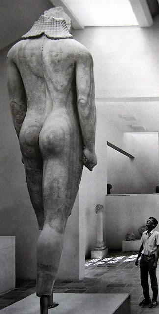 Colossal Kouros of Samos - height 4.75 m, marble from Sanctuary of Hera in Samos Island,  Archaic Period, circa 590-580 BC