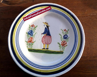 Unique old Malicorne pottery, soup bowls made in France. late 1800s faience dinner plates depicting breton Man with floral pattern, dishes related to Pouplard Beatrix model.