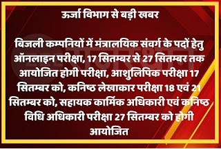 Rajasthan Vidyut Vibhag Exam Date 2021