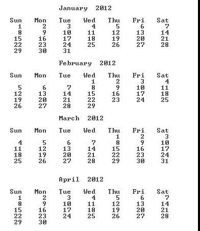 Java program to print Calendar of any given year in format