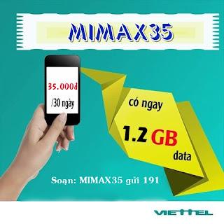 Mimax35 Viettel chỉ 35k dùng 1,2GB trong 1 tháng