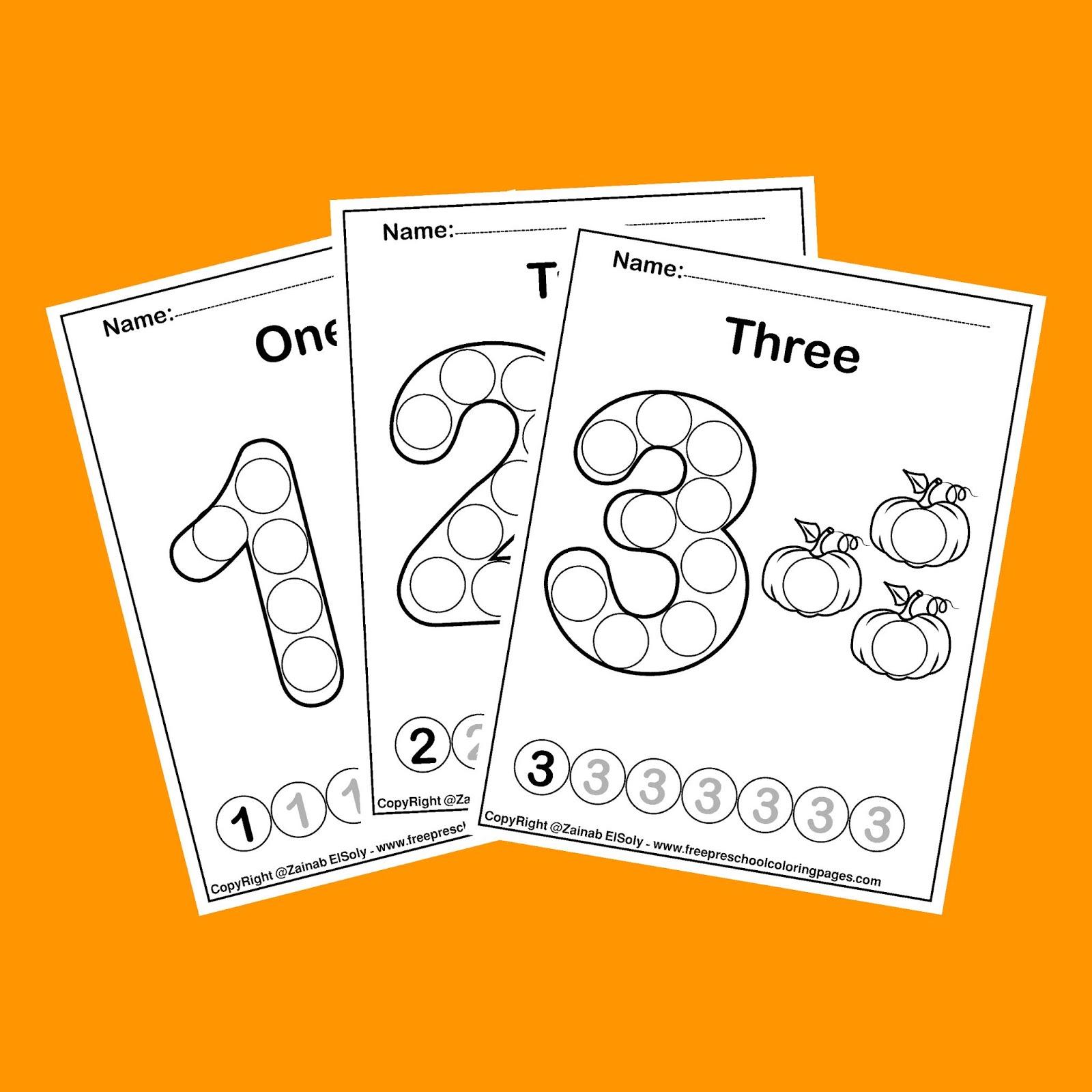 Pumpkins Dot Activity Free Preschool Coloring Sheets fall Autumn