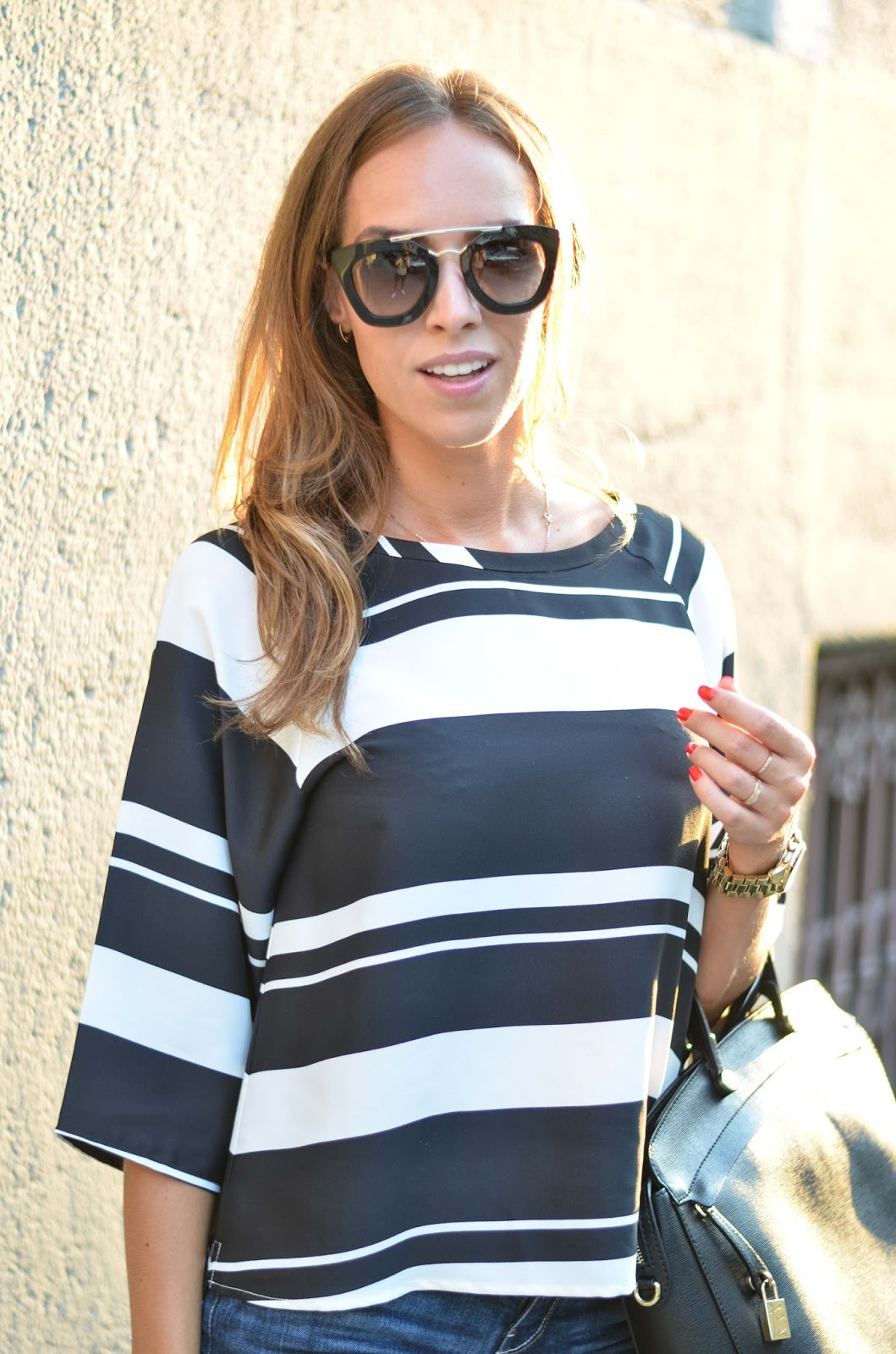 kristjaana mere lindex striped blouse prada sunglasses