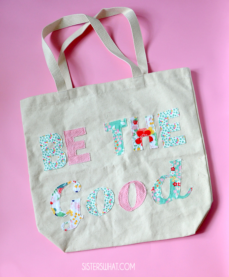 fun scrap fabric project sewing favorite quote to blank tote bag