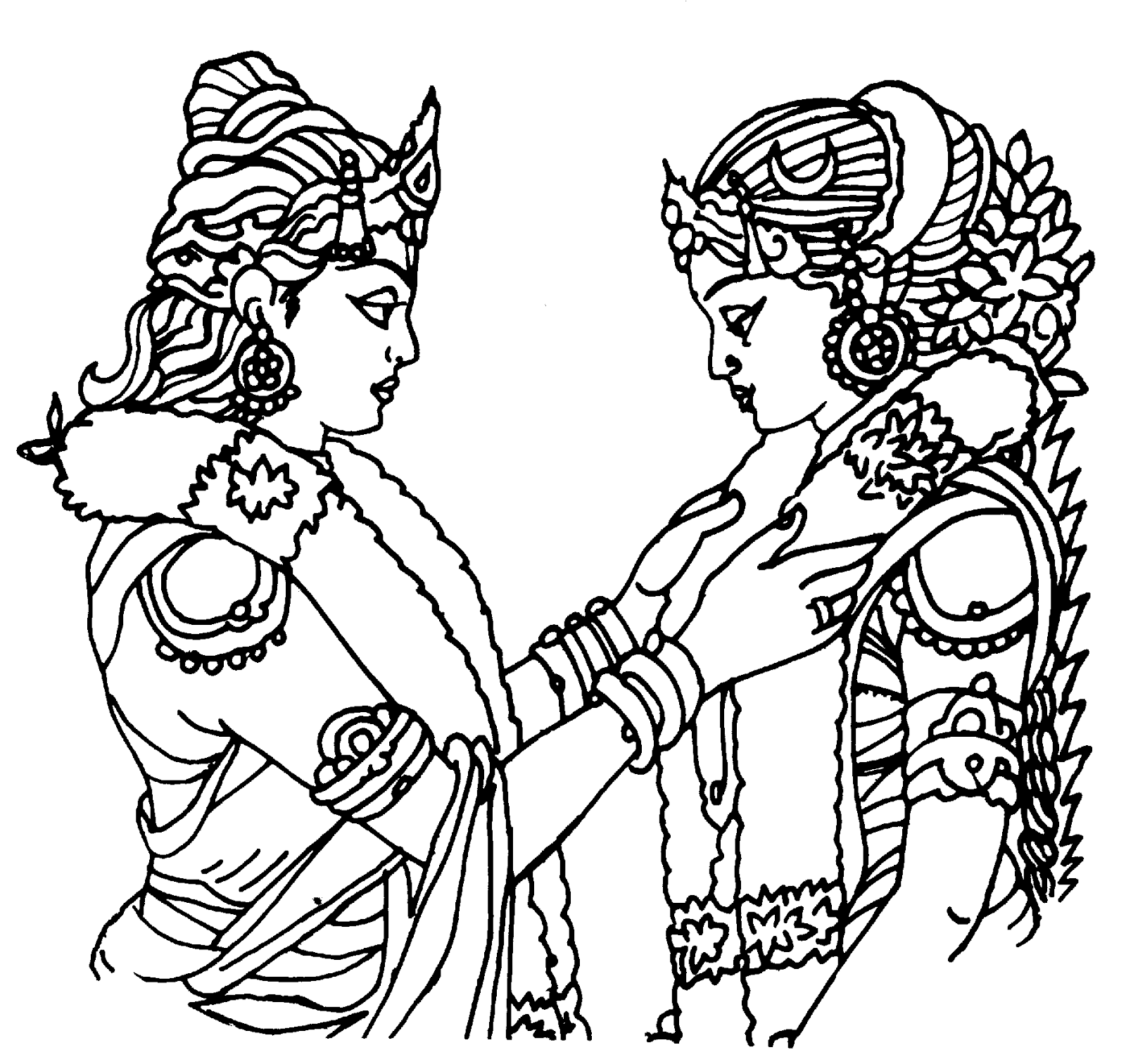Indian Doli Clip Art Sketch Coloring Page