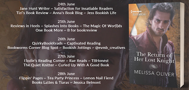 The Return of Her Lost Knight by Melissa Oliver blog tour banner