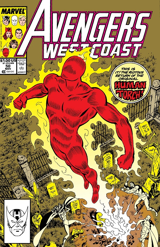 Cover of Avengers West Coast #50 featuring The Human Torch flying up out of a graveyard leaving the Avengers team below