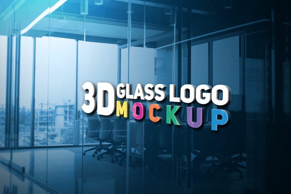 3D Glass Logo Mockup